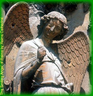 The Smiling Angel of Reims by Reims Cathedral