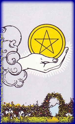 Ace of Pentacles by Pamela Coleman-Smith for the Rider-Waite Tarot